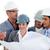 inşaat · mühendisler · konuşmak · flipchart · Bina · plan - stok fotoğraf © wavebreak_media