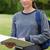 jeunes · jolie · jeune · fille · herbe · campagne · lecture · livre - photo stock © wavebreak_media