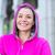 portré · nő · visel · rózsaszín · kabát · fejhallgató - stock fotó © wavebreak_media