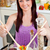 Cute woman eating her healthy meal at home in the kitchen stock photo © wavebreak_media