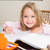 boldog · lány · rajz · ceruzák · otthon · iskola - stock fotó © wavebreak_media