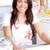 fényes · ázsiai · nő · sütés · konyha · mosolyog - stock fotó © wavebreak_media