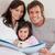 gülen · ebeveyn · okuma · öykü · kız · yatak · odası - stok fotoğraf © wavebreak_media