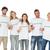 mujer · sonriente · blanco · camiseta · senalando · gesto · anuncio - foto stock © wavebreak_media