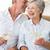 starszy · para · wina · romans · śmiechem · wraz - zdjęcia stock © wavebreak_media