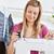 heldere · jonge · vrouw · naaimachine · keuken · business · werk - stockfoto © wavebreak_media