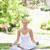 genç · kadın · oturma · yoga · pozisyon · çim · güzellik - stok fotoğraf © wavebreak_media