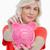 banku · piggy · kobieta · zauważa · biały · ręce · uśmiech - zdjęcia stock © wavebreak_media