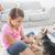 hermanos · jugando · cachorro · feliz · casa - foto stock © wavebreak_media