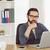 gericht · zakenman · vergadering · met · behulp · van · laptop · werkplek · kantoor - stockfoto © wavebreak_media