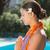 vrolijk · jonge · vrouw · zwembad · portret · gelukkig - stockfoto © wavebreak_media