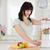 cute · morena · mujer · mezclador · pie · cocina - foto stock © wavebreak_media