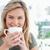 gülen · kadın · kahve · ev · kadın · güzellik - stok fotoğraf © wavebreak_media