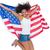 mooie · meisje · Amerikaanse · vlag · springen · glimlachend · camera - stockfoto © wavebreak_media