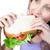 faminto · mulher · sanduíche · branco · casa - foto stock © wavebreak_media