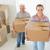 boldog · pár · hordoz · karton · költözködő · dobozok · új · otthon - stock fotó © wavebreak_media
