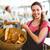 középső · rész · pincérnő · étel · munkatárs · áll · kávézó - stock fotó © wavebreak_media