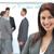 feliz · mujer · de · negocios · posando · equipo · negocios - foto stock © wavebreak_media