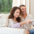 очаровательный · пару · диван · любви · счастливым - Сток-фото © wavebreak_media