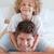 gülen · baba · çocuk · yatak · birlikte · aile - stok fotoğraf © wavebreak_media
