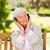 gelukkig · senior · vrouw · vergadering · bank · zomer - stockfoto © wavebreak_media