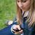 fiatal · lány · küldés · szöveg · mobiltelefon · ül · fű - stock fotó © wavebreak_media