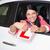 女性 · テスト · 運転 · ショールーム · 側面図 · 車 - ストックフォト © wavebreak_media