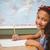 mosolyog · barna · hajú · iskolás · lány · hosszú · haj · tart · könyv - stock fotó © wavebreak_media