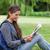 jungen · Mädchen · Sitzung · Gras · Lesung - stock foto © wavebreak_media