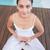spokojny · brunetka · biały · posiedzenia · Lotos · stanowią - zdjęcia stock © wavebreak_media