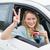 jeune · femme · souriant · carte · voiture · femme - photo stock © wavebreak_media
