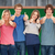 composite image of six friends giving thumbs up as they smile stock photo © wavebreak_media