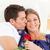 retrato · encantador · homem · beijando · esposa · sofá - foto stock © wavebreak_media