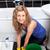kobieta · czyszczenia · piętrze · szmata · widoku - zdjęcia stock © wavebreak_media