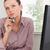 mujer · de · negocios · oficina · feliz · teclado · escritorio - foto stock © wavebreak_media