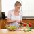 nő · szeletel · zöldségek · konyha · boldog · egészség - stock fotó © wavebreak_media