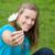 genç · kız · oturma · açık · havada · çiçek · gülen - stok fotoğraf © wavebreak_media