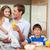apa · reggeli · együtt · gyerekek · étel · konyha - stock fotó © wavebreak_media