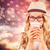 composite image of gorgeous blonde hipster drinking out of take  stock photo © wavebreak_media