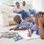 hijo · de · padre · dibujo · salón · casa · sesión · familia - foto stock © wavebreak_media