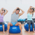 sporty people stretching hands on exercise balls at gym stock photo © wavebreak_media
