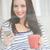 csinos · barna · hajú · küldés · szöveg · fehér · boldog - stock fotó © wavebreak_media