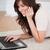 великолепный · брюнетка · женщины · телефон · расслабляющая · ноутбука - Сток-фото © wavebreak_media