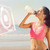 composite image of beautiful healthy woman drinking water on bea stock photo © wavebreak_media