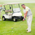golfer about to tee off with partner behind him stock photo © wavebreak_media