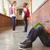 Schoolboy with friends in background at school corridor stock photo © wavebreak_media