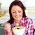 wesoły · kobieta · jedzenie · sałatka · owocowa · śniadanie · kuchnia - zdjęcia stock © wavebreak_media