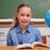 boldog · iskolás · lány · olvas · tankönyv · csinos · gyerek - stock fotó © wavebreak_media