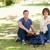 kettő · férfi · diákok · pózol · tanul · park - stock fotó © wavebreak_media