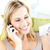charmant · jonge · vrouw · praten · telefoon · kaart - stockfoto © wavebreak_media